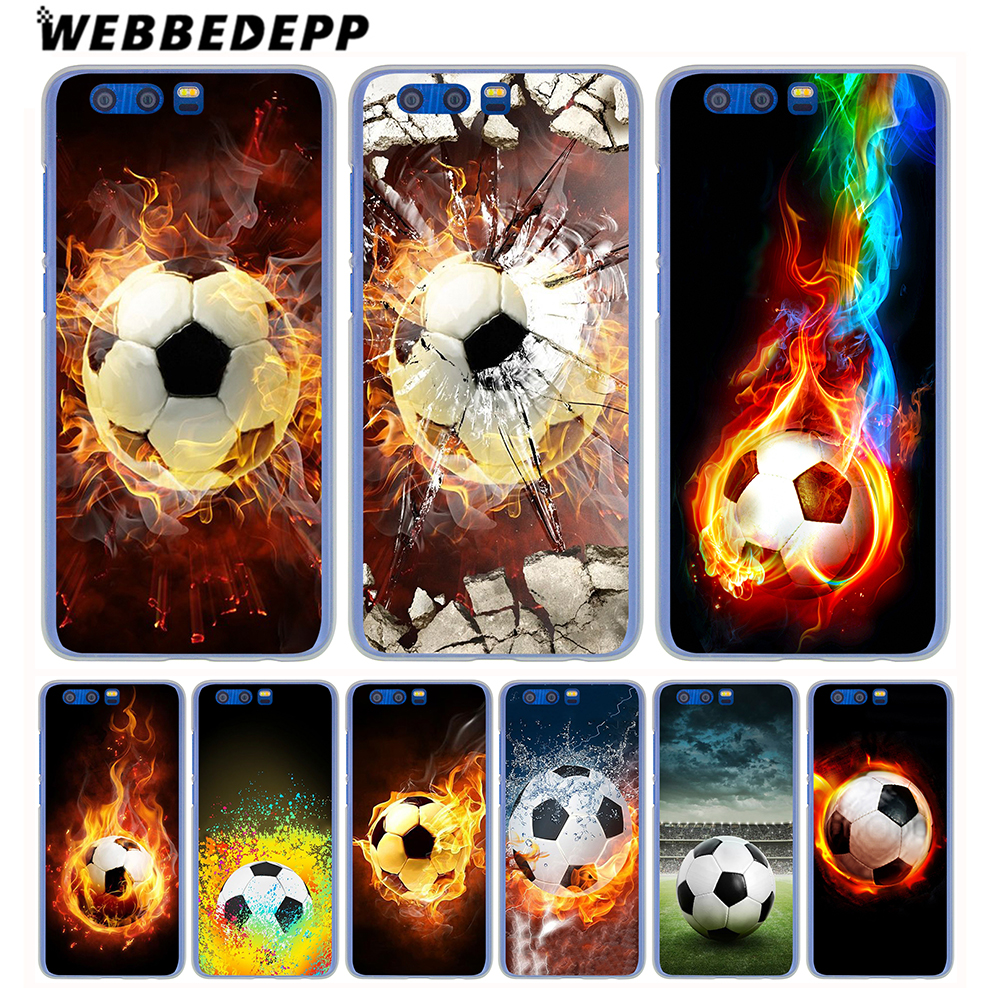 WEBBEDEPP Fire Football Soccer Ball Hard Cover Case for Huawei Honor 9 8 Lite 7 6 X 6A 6C Y6 Y5 Y3 II Y7 2017