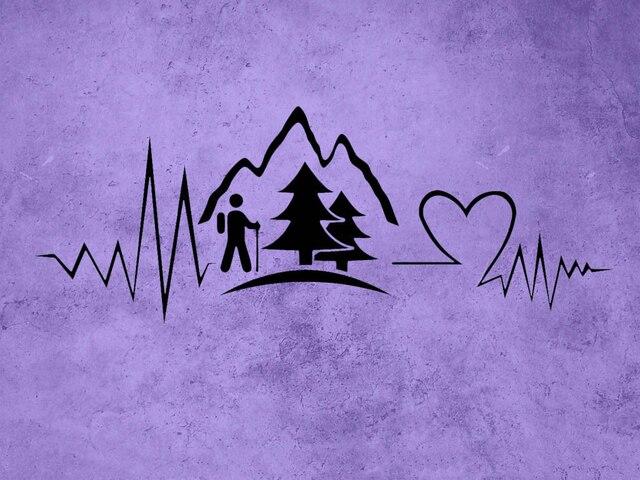 Heartbeat Line Art : Hiking decal heartbeat mountain vinyl sticker wall decals