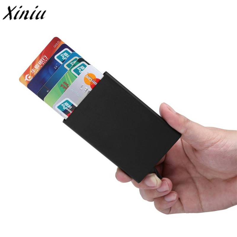 Xiniu New fashion Bank Credit Card Package Card Holder Business Card Case gift card box Aluminum alloy porte carte bancaire deli card holder stationery for business credit card name id card holder case wallet box porte carte portable card box