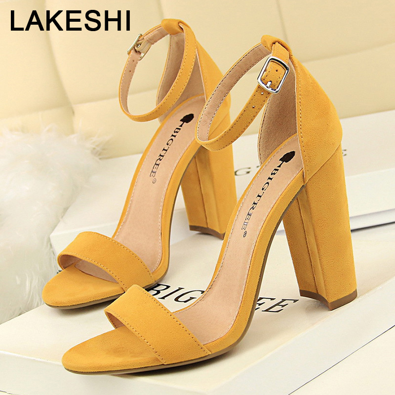 BIGTREE Shoes Woman Heels Sexy High Heels Women Pumps Women Sandals Buckle Strap Square Heels Women Shoes Party Wedding Shoes