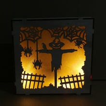 New Halloween Hollow LED Light Haunted House Wooden Square Laser lantern  Hanging Decoration