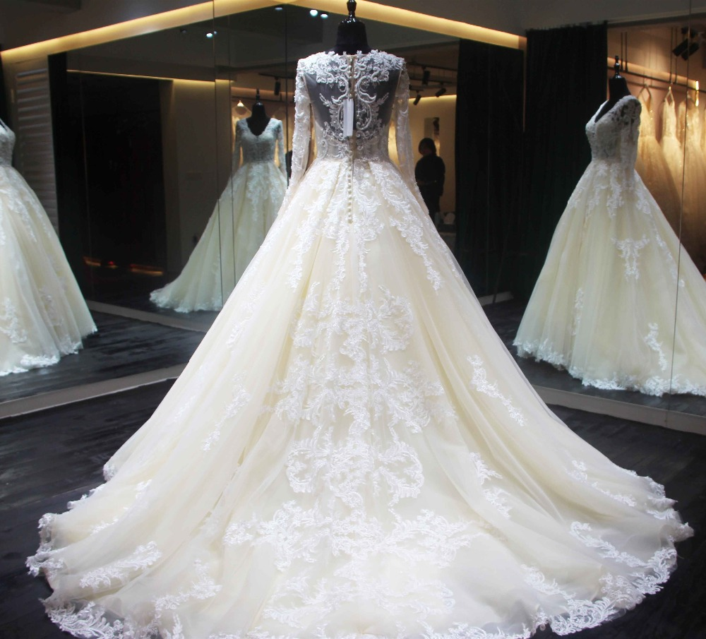 Designs For Wedding Gowns: New Design Long Wedding Dress 2018 O Neck Long Sleeves