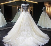 New Design Long Wedding Dress 2018 O Neck Long Sleeves Ball Gown Lace Chapel Train Bride Dresses Wedding Gowns