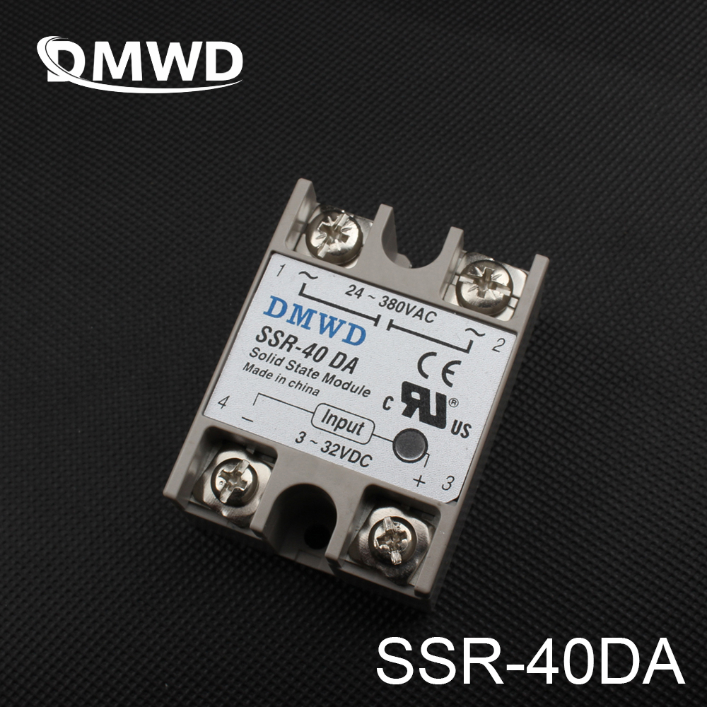 TOP BRAND DMWD 1pcs Free shipping solid state relay SSR-40DA 40A actually 3-32V DC TO 24-380V AC SSR 40DA relay solid state light grey simple long sleeves sweater