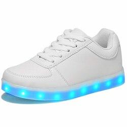 Светодиодная светящаяся обувь для мальчиков и девочек; модная повседневная детская 7 видов цветов с подсветкой и зарядкой через USB; новые св...