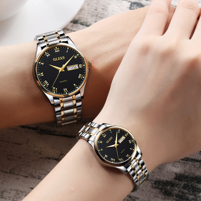 OLEVS Romantic Lovers Watches Dial Quartz Luxury Gold Ladies Wristwatches Leathe