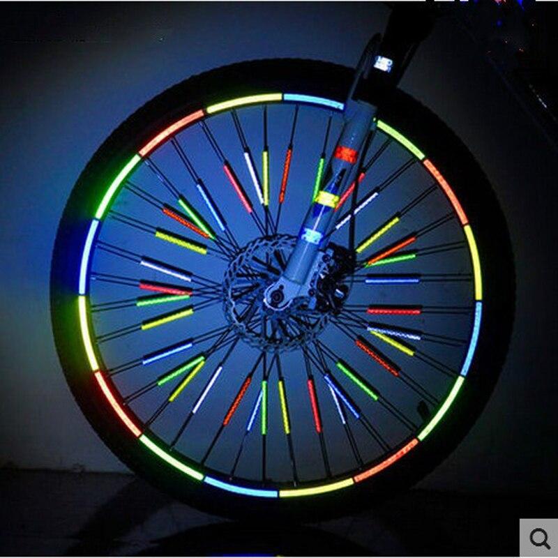 12 Pcs Portable Cycling Spoke Reflective Strip Bike Wheel Spoke Reflector Clips Warning Card Strip Security Protection Material