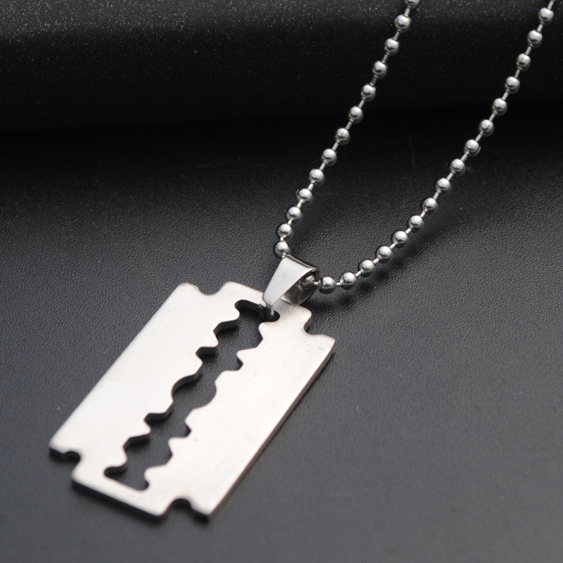 Cool Silver Stainless Steel Razor Blades Pendant Necklaces Men Jewelry Steel Male Shaver Shape Necklaces & Pendants Free Chain