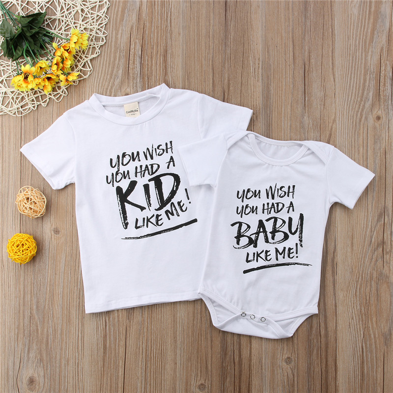ab524219f725b Summer Big Brother T-shirt Little Baby Boy Romper Newborn Toddler Baby Boy  Girl Short Sleeve Letter Tee Tops Matching Outfits