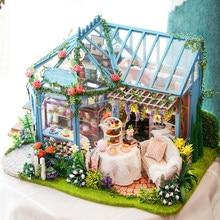 Cutebee diy casa em miniatura com móveis led música poeira capa modelo blocos de construção brinquedos para crianças casa de boneca a68e