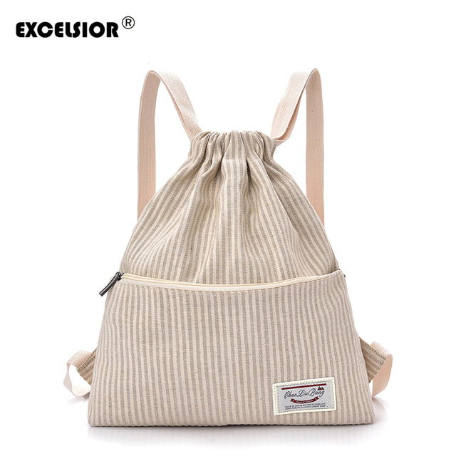 EXCELSIOR 2019New Canvas Female Backpack Women School Bags Geometric  Backpack Striped String Beach Bag Fashionable Bags for Girl 82a73f9760aba