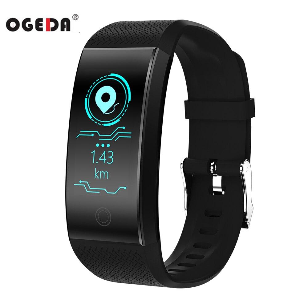 OGEDA QW18 Montre Smart Watch Sport Bracelet Couleur de Fréquence Cardiaque Podomètre IP68 Étanche Montre Top Marque De Luxe Fitness Montre Bracelet