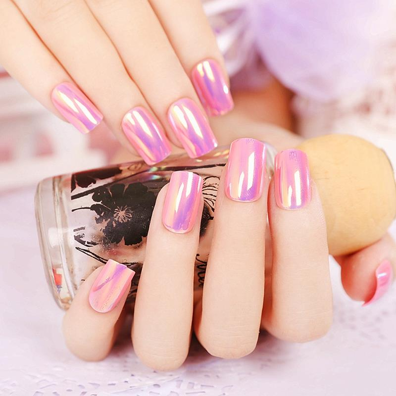 Abalone shell Shine Nail Art Design Purple Sweet False Nails for Finger Z108