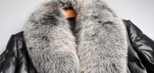 YOLANFAIRY Geniune Leather Jacket Men Sheepskin Leather Duck Down Coat With Real Fox Fur Collar Winter Warm Thick Outwear MF391 3