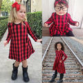 Casual Baby Kids Girls Dress Checked Cotton Party Princess Dresses A-line