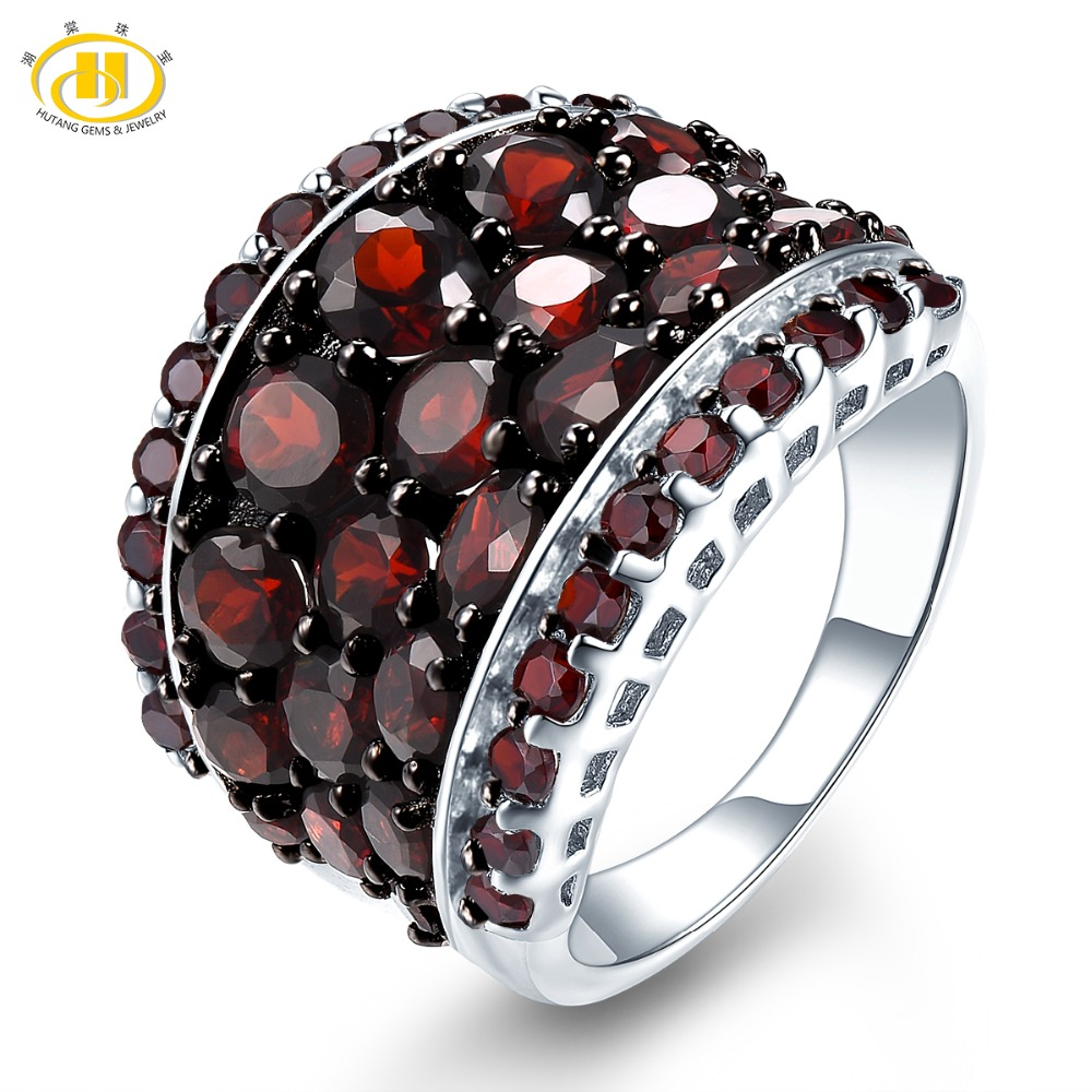 Hutang Natural Red Garnet Women's Ring Gemstone 925 Sterling Silver Rings Fine Elegant Black Jewelry For Wedding Bridal Gift New