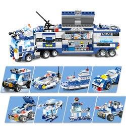 8 في 1 مدينة الشرطة سلسلة محطة الشرطة اللبنات LegoING SWAT فريق DIY الطوب التعليمية لعب للتعلم للأطفال