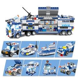 8 em 1 Cidade Blocos de Construção Da Polícia Série LegoING Equipe Da SWAT Bricks DIY Brinquedos de Aprendizagem Educacional Para Crianças