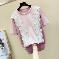 Sweet Lace Stitching T Shirts Womens Summer Short sleeved T shirt Top Female Slim All match T shirts Ladies Fashion T Shirt Tees