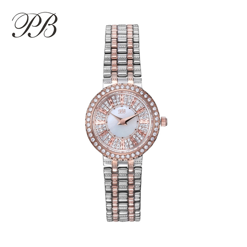 Popular Brand PB Ladies Watch Zircon Rose Gold Full Stainless Steel Bracelet Quartz Watch montre femme marque de luxe HL618 цена и фото
