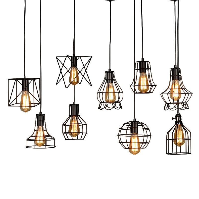 Retro Indoor Lighting Vintage Pendant Light Led Lights 24: Vintage Cage LED Pendant Light Iron Retro Loft Pyramid