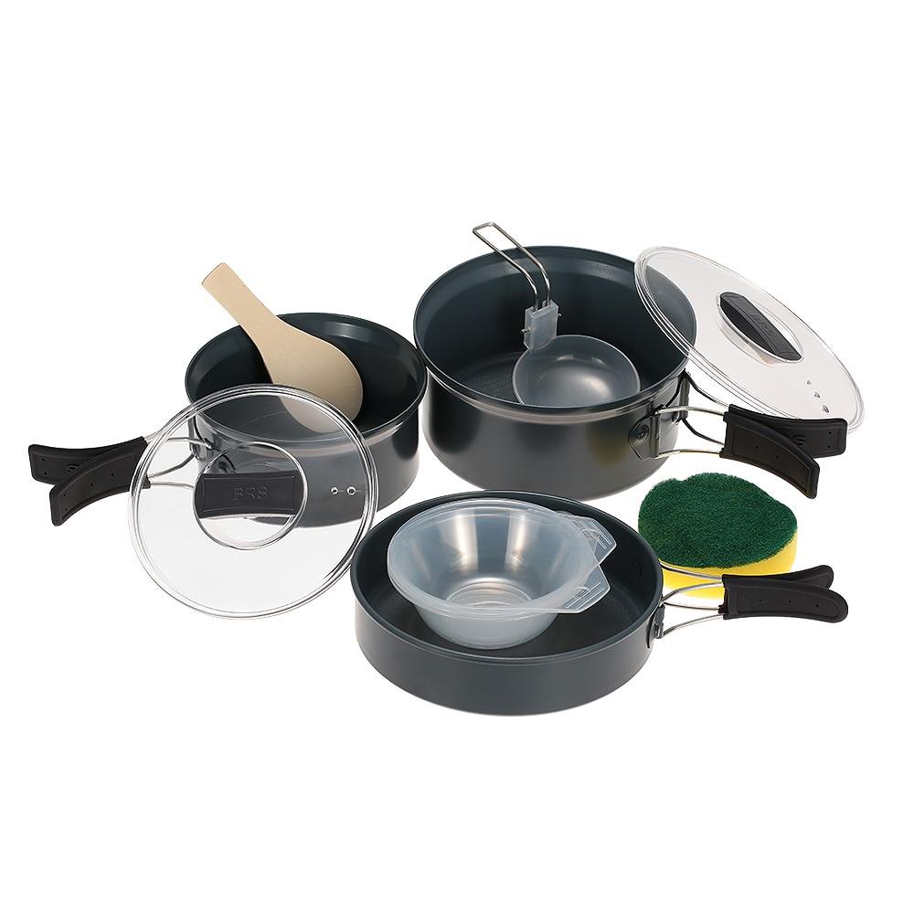 BRS-123 livraison gratuite 2-3 personne marmite Camping ustensiles de cuisine en plein air casseroles ensembles multi-fonction ustensiles de cuisine