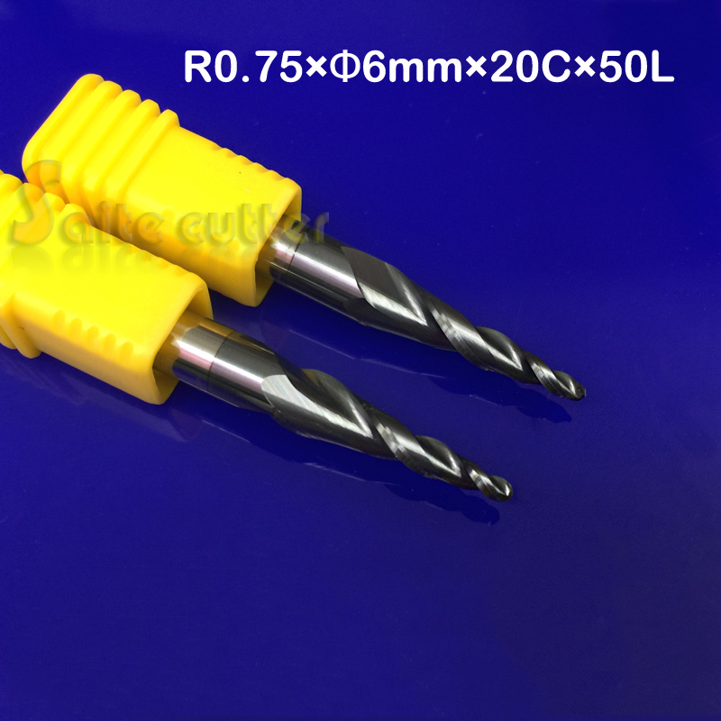 2pcs/lot Tapered Ball Nose End Mill R0.75*D6*20*50L*2F HRC55 Solid Carbide Coated Cone Cnc Milling Cutter Engraving Grinding Bit