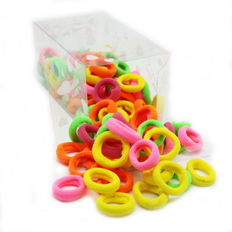 100pcs Towel Elastic Hair Bands With Transparent Storage Box Soft Basic Solid Hairband Scrunchies Kids Girls Hair Accessories in Hair Accessories from Mother Kids