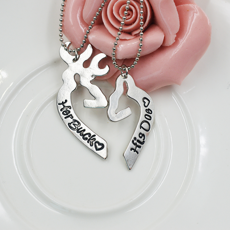 engraved his her heart her buck his doe necklace guitar pick