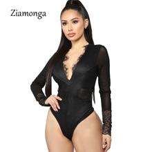Ziamonga осень женский, Черный Кружевное боди Femme тела спинки сетки с длинным рукавом Тощий Сексуальный Комбинезон Femme выда