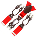 MBD8621 Moda masculina de couro Genuíno ocidental-estilo calças elásticas 6 fechos ajustáveis Homens Vermelhos suspensórios suspensórios Frete Grátis