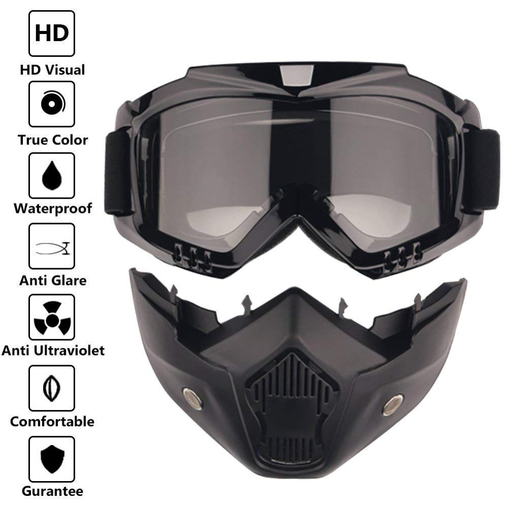 Safety Goggles Face Mask Windproof Dustproof UV-protection Eyewear Mask Detachable Motorcycle Tactical Goggles Masks