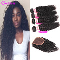 Brazilian Kinky Curly Virgin Hair With Closure Remy Hair 3 Bundles With Closure Brazilian Hair Weave Curly Bundles With Closure