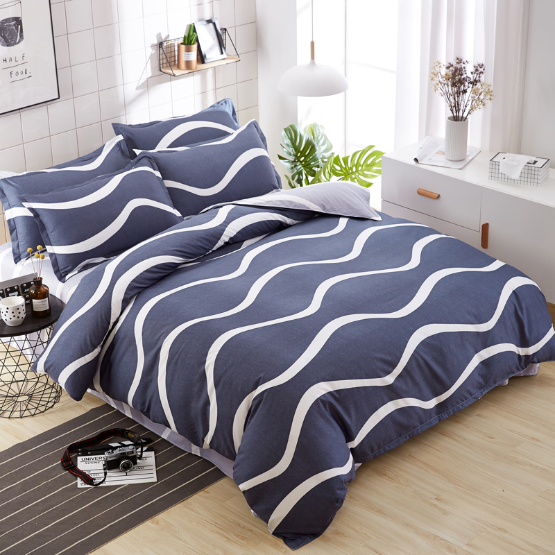Pillowcase Bedding-Sets Duvet-Cover Flat-Sheet Grey Minimalist Quality Contain Style.