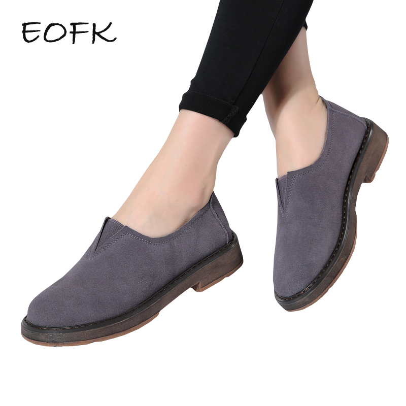 EOFK Women Moccasins Women's Flats Suede Genuine leather Shoes Woman New Spring Autumn Lady Loafers Slip On Female Flat Shoes 2018 autumn new vintage casual handmade shoes woman flats genuine leather fashion women shoes slip on women s loafers moccasins
