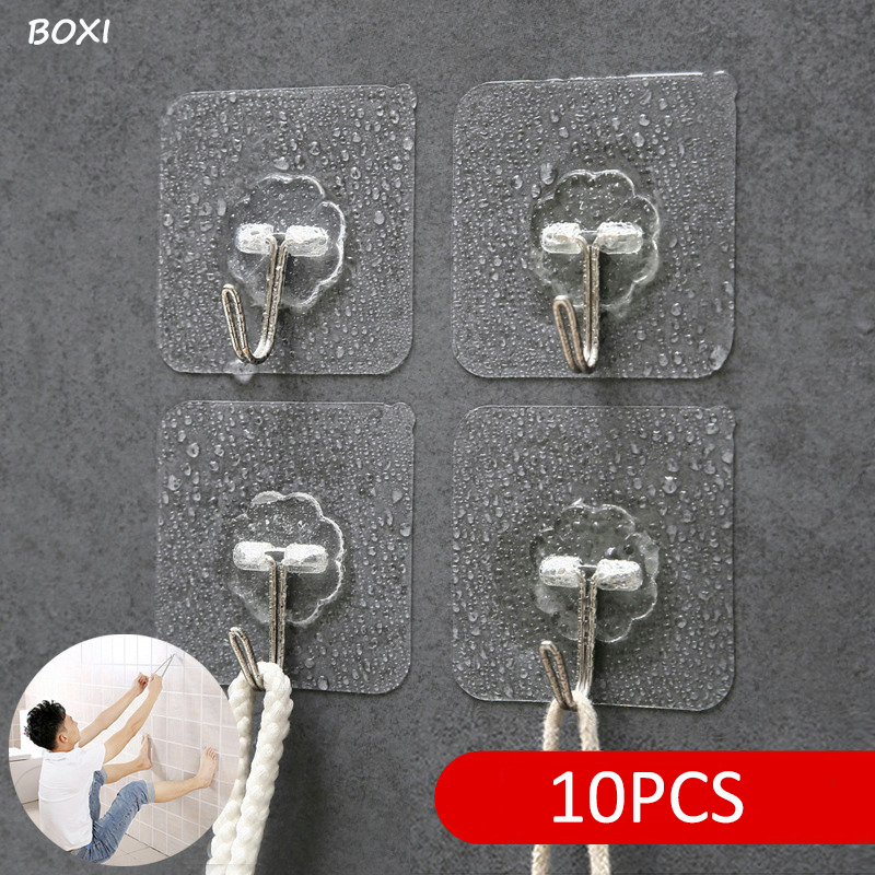 Boxi 1/5/10 Pcs Key Holder Strong Hooks Suction Cup Kitchen Transparent Hook Bathroom Sucker Wall Hanger Crochet Accessories
