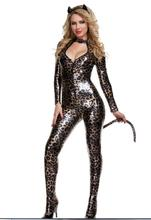 Leopard body cat imitation leather girl role play Halloween party night show DS costumes+headwear