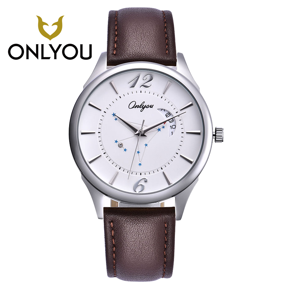Onlyou Mens Watch Top Brand Luxury Fashion Casual High Quality Leather Womens Watches Waterproof Quartz Wristwatch Lover Watches onlyou women top brand fashion watch super slim quartz waterproof wristwatch females casual fabric gift watces wholesale