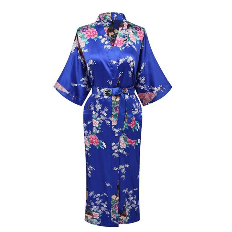 New Arrival Blue Women Satin Kimono Bath Gown Lady Summer Sexy Robe Nightgown Flower Pajamas Plus Size S M L XL XXL XXXL WR053