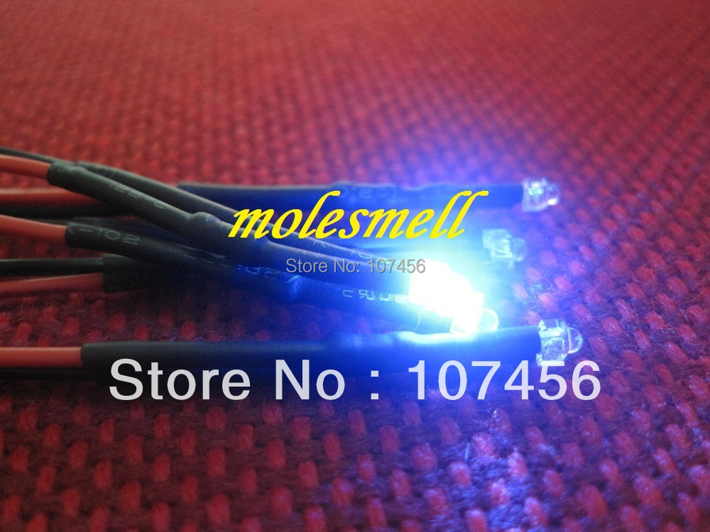 Free Shipping 20pcs 1.8mm Blue LED Lamp Light Set Pre-Wired 1.8mm 12V Blue 12v DC Wired