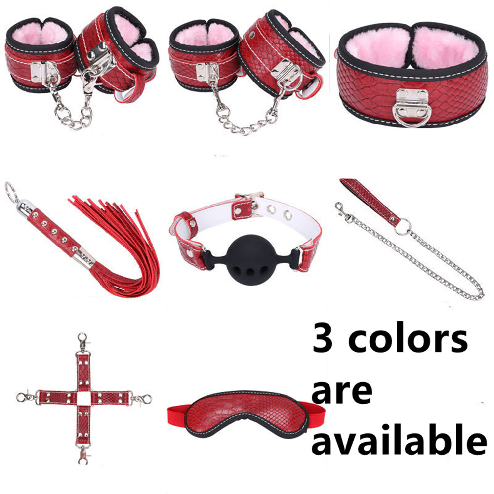 Plush Leather Dog Collar Slave Wrist Ankle Cuffs Eye Mask Whips Silicone Mouth Plug In Adult Games Fetish Sex Toys For Couples crown plush eye mask