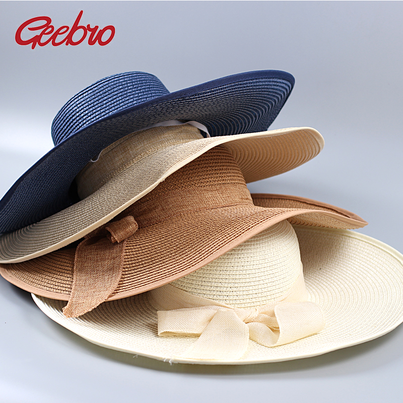 geebro branded straw hat panama summer hats for women visor beach hat gorras chapeu femme women. Black Bedroom Furniture Sets. Home Design Ideas