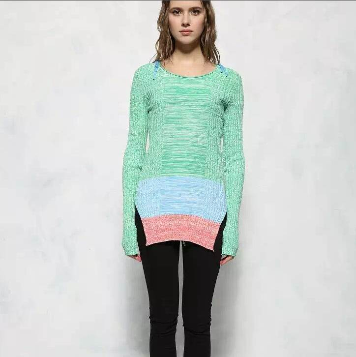 font b women s b font green patchwork sweater high quality oversized plus size patchwork