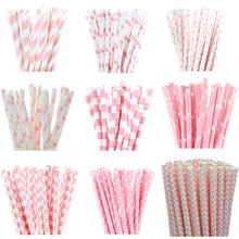 25pcs Light Pink Paper Straws for Baby Shower Wedding Party Kids Birthday Party Decoration Supplies Paper Drinking Straws(China)