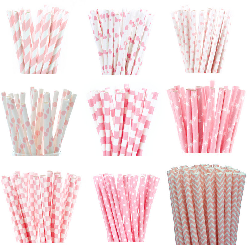 25pcs Light Pink Paper Straws for font b Baby b font Shower Wedding Party Kids Birthday