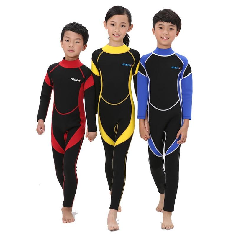 SEAC 2.5mm néoprène enfants combinaisons garder au chaud Protection solaire garçons filles combinaisons de plongée à manches longues corps complet enfant surf combinaisons
