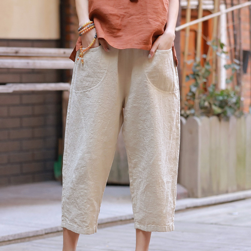 Women Ladies Solid   Wide     Leg     Pants   2019 Summer Casual Loose Cotton Linen Trousers Stretch Waist Plus Size   Pants   Pantalon Capris