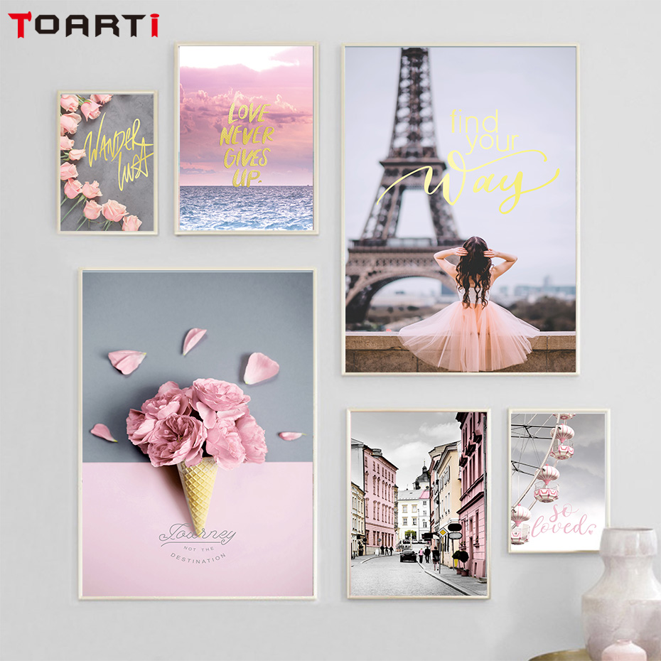 Pink Rose Modern City Nordic Poster And Print Canvas Painting Living Room Decor Paris Ice Cream Flowers Wall Art Picture Murals