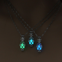 Glow in the Dark Necklace with Silver Plated Pineapple Shaped Choker Long Luminous Stone Pendant Necklace for Women Men Jewelry