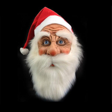 Funny Santa Claus Full Mask Super Soft Santa Face Mask Wig Beard Costume Christmas Party Ho
